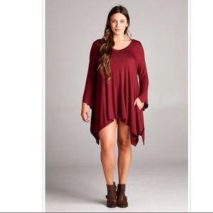 Plus Size Hi Low Bottom Hem Tunic Dress Maroon